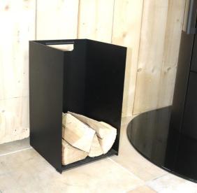 Small-black-log-holder. 50cm D:30cm W:30cm