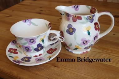 Emma Bridgewater flower design Teacup & Milk Jug