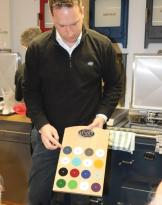 Graham-Duke-Everhot-Sales-Director-demonstrates-colour-the-latest-colour-range-web