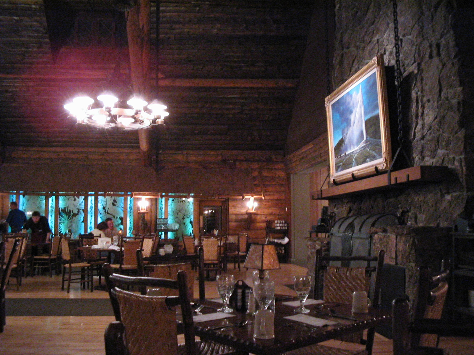 old faithful inn dining room & bear pit lounge, yellowstone