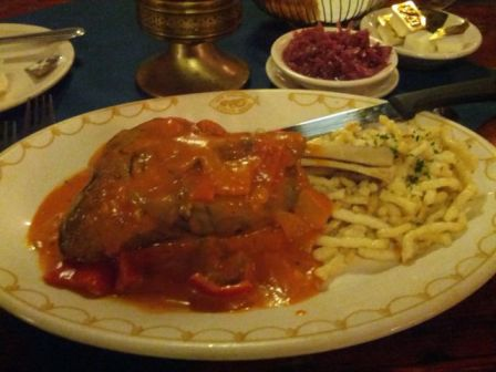 lamb shank with red pepper sauce, spaetzle, and red cabbage - photo by The Jab, 2014