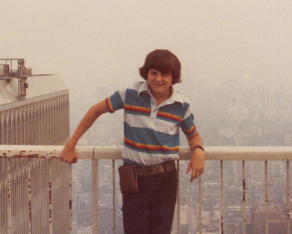 teenage me, a bit nervous on the roof of the World Trade Center, 1975 or 1976