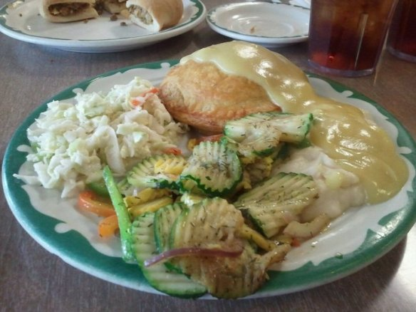 chicken pie with mashed potatoes, gravy, cole slaw, and vegetables - photo by Dean Curtis, 2011