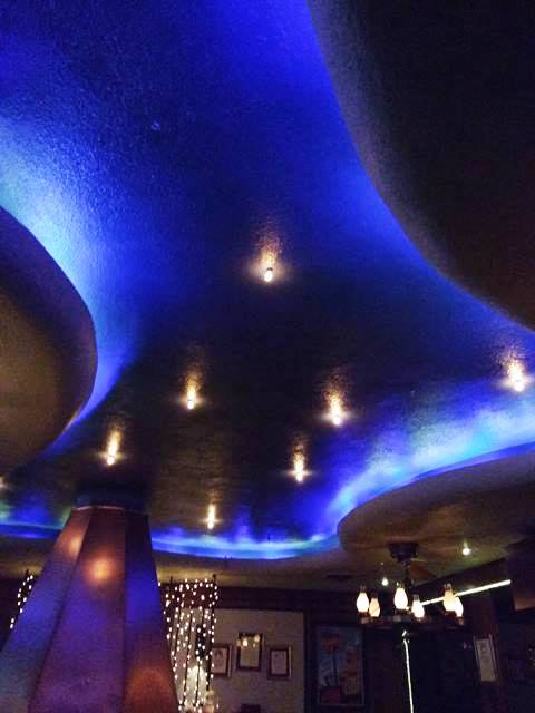 amazing free-form ceiling with cool lighting - photo by Dean Curtis