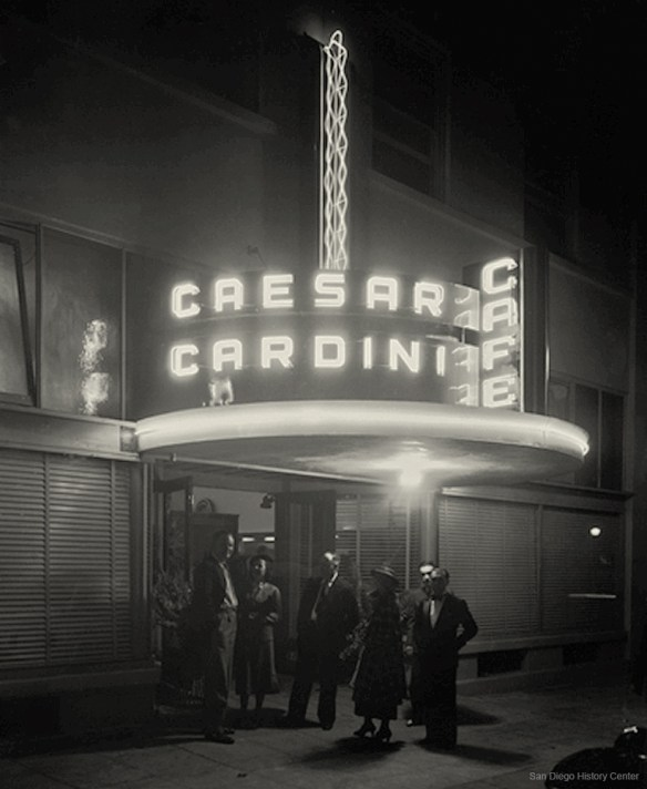 Caesar Cardini's Cafe, opening night, 1936 - image by San Diego History Center