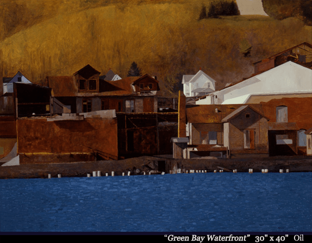 "Green Bay Waterfront Oil 30"" x 40"""
