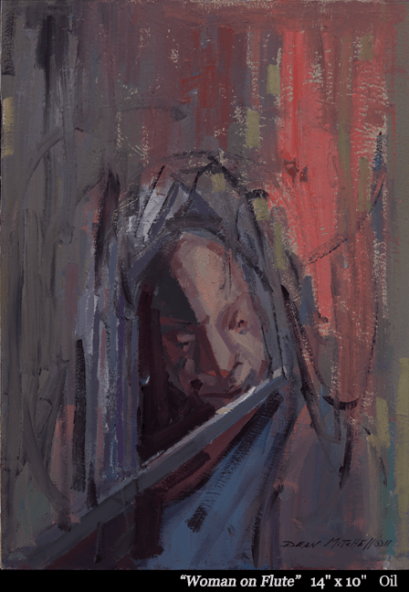 """Woman on flute  Oil 14"""" x 10"""""""