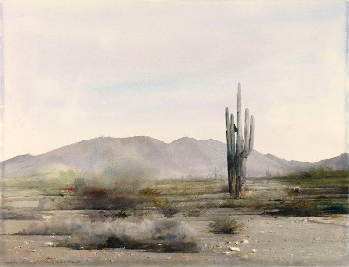 "Phoenix Cactus 22"" x 30"" watercolor"