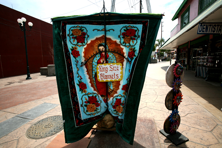 Her image decorates blankets on sale for tourists in Tijuana, Mexico.