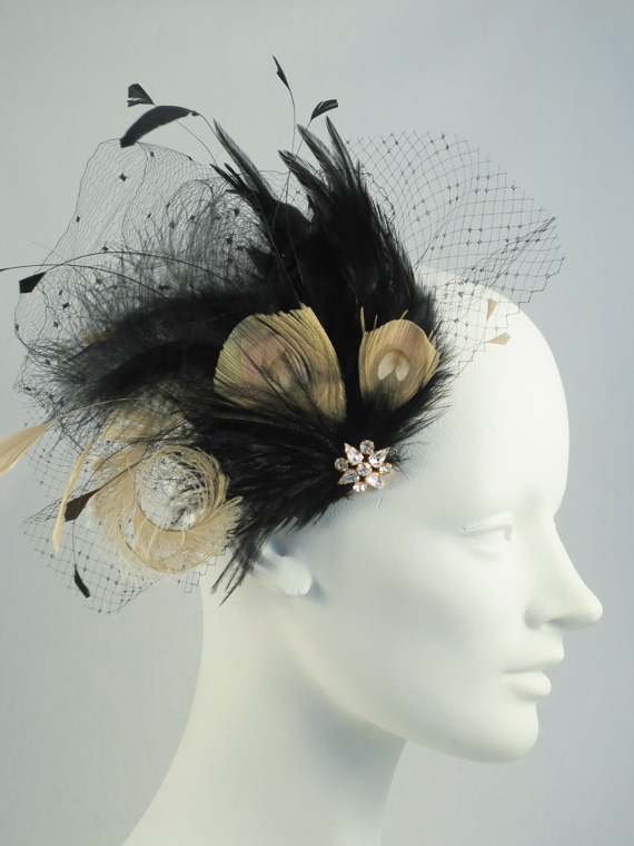Vintage Veil Feather Hair Clip In Black And Champagne