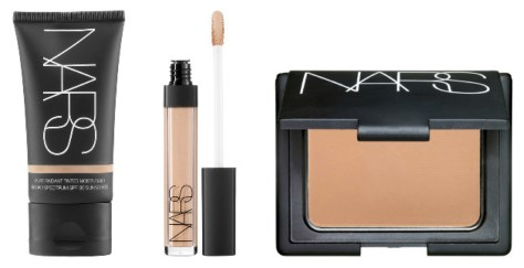 Three steps to a perfect complexion: NARS Pure Radiant Tinted Moisturizer for sheer coverage, NARS Radiant Creamy Concealer, and NARS Pressed Powder.