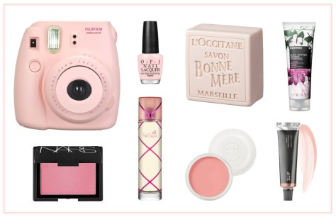 Pink products to put a smile on your face (clockwise): Fujifilm Instax mini 8 instant camera; OPI Nail Lacquer in Passion; L'Occitane Rose Bonne Mere Soap; Korres Body Butter in Jasmine; Bite Agave Lip Mask in Champagne; Dior Creme de Rose Smoothing Plumping Lip Balm; Aquiline Pink Sugar Parfum; NARS Blush in Angelika.