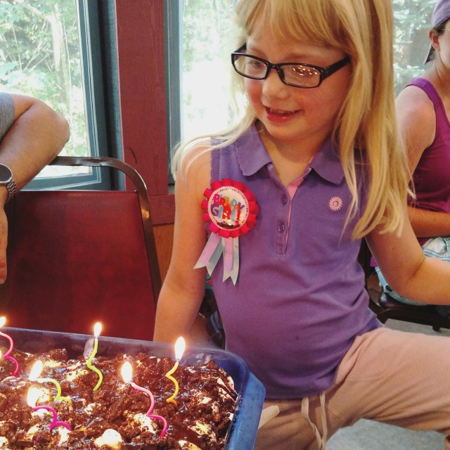 Dani turns 9 and celebrates with oreo ice cream cake in the dining hall and all the staff and campers singing to her!