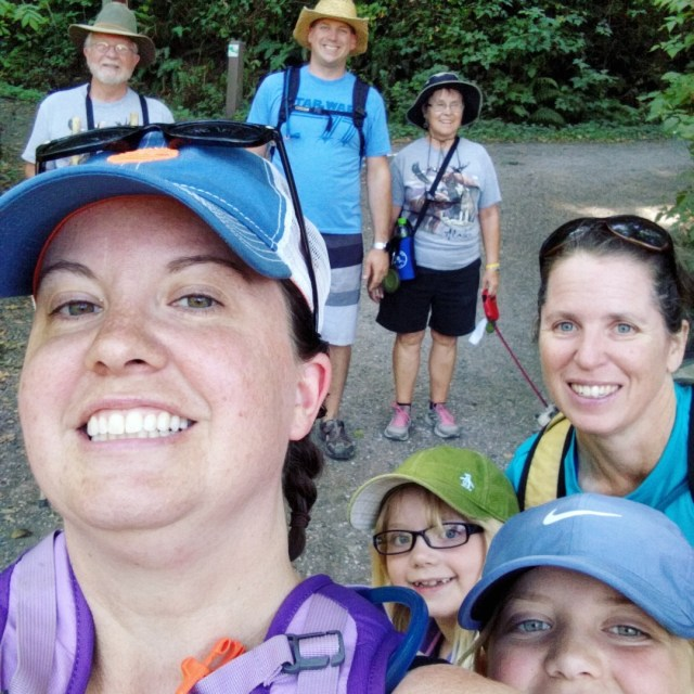 Our last hurrah of summer was a week of camping with Gram & Grampa and Aunt Debbie. Here we all are on the family hike.