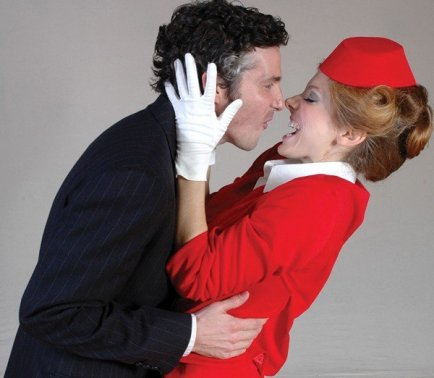 As Gloria in BOEING BOEING at Florida Rep; photo by Chip Hoffman; With Brendan Powers