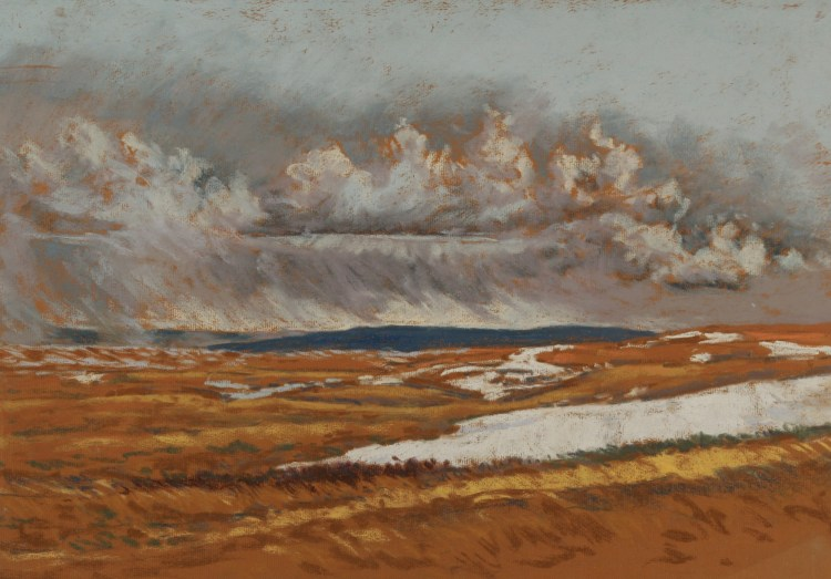 Snow Squall in the Cypress Hills, pastel by D.T. Reeves
