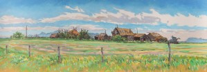 Landscape painting titled Manyberries Homestead, pastel on paper, by D.T. Reeves