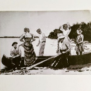 Boating Party, c. 1911, India ink on paper, by D. T. Reeves