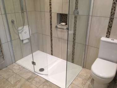 New shower room Kendal - After - a fabulous walk-in shower, accessible but luxurious!