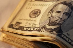 Five dollar bill stack