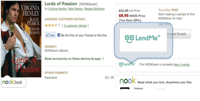 Lend Me nook product page