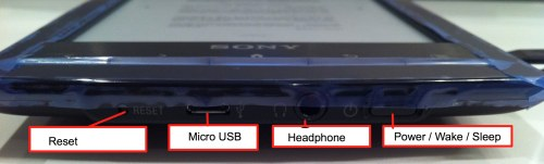 Sony Reader PRS-T1BC bottom  inputs