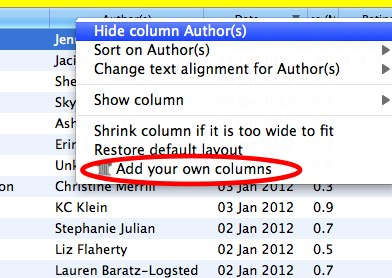 Right click add your own columns