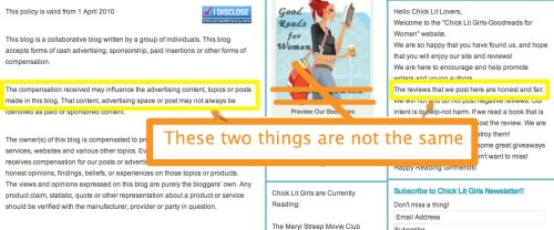 Chicklitgirls disclosure