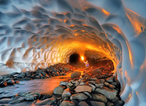 Snow cave in Russia