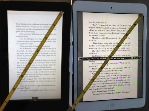 size comparison between Kindle Fire and iPad Mini