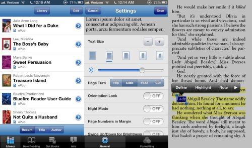 Screenshots from BlueFire App