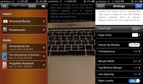 Screenshots from MegaReader App