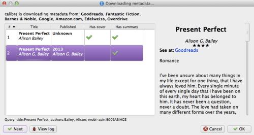 Screenshot of metadata search results