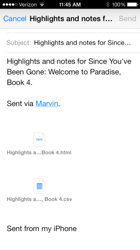 Email notes to myself from Marvin