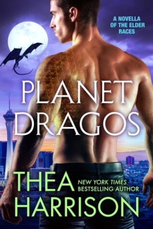 back view of the head and torso of a shirtless hot guy with short dark hair, in dark trousers and belt. Over his left shoulder and down his left arm there are golden dragon scales. The man overlooks a city. There's a flying dragon in shadow in the top left background.