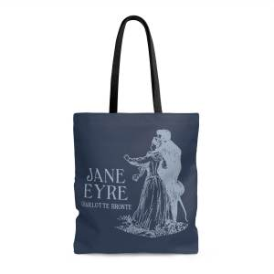 Steel blue tote with Jane Eyre title and Rochester and Jane pictured