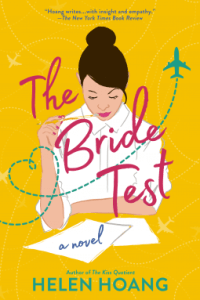 Mustard yellow cover with a cartoon depiction of an East Asian woman with dark hair in a bun on top of her head, wearing a white shirt and sitting at a desk, pencil in hand.
