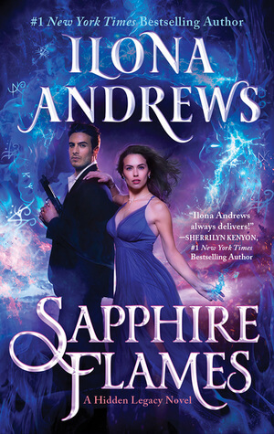 Hot Italian spy-looking guy wearing a black suit and holding a gun in a James Bond pose with a beautiful dark-haired woman in a strappy blue dress against a background of blue lightning.