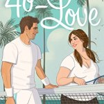 Illustrated cover featuring a fat white woman in a white tee and black leggings, with long brown pigtails smiling across a tennis net at a tall, slim, brown-haired white man in tennis whites on a tropical island