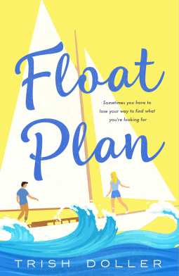 Illustrated cover in blue and yellow of  a white man and a woman on a sailboat on the ocean