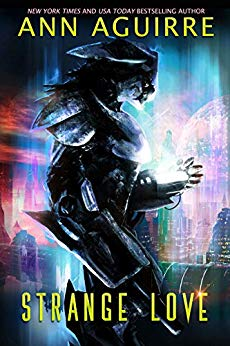 Alien in a black exoskeleton against a blurry sci-fi cityscape in purples and blues and reds