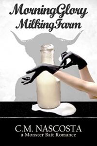 Black and white cover, picture of an overflowing milk bottle (it is not filled with milk) and a white, human woman's hands in black latex gloves, a shadow of a minotaur in the background