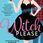 illustrated cover of a pretty white red-haired woman in a sexy black cocktail dress in the style of bewitched with sparkles going across the cover to indicate magic, a hot bearded white man in a plaid shirt and jeans stands behind her off to one side his back to her
