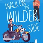 Illustrated cover in blue with a white, dark-haired motorcycle riding, leather jacket wearing bad boy in the lower left and a brown-skinned dark-haired woman reading a book in the top right, there's a rabbit in the lower right which makes sense when you read the book