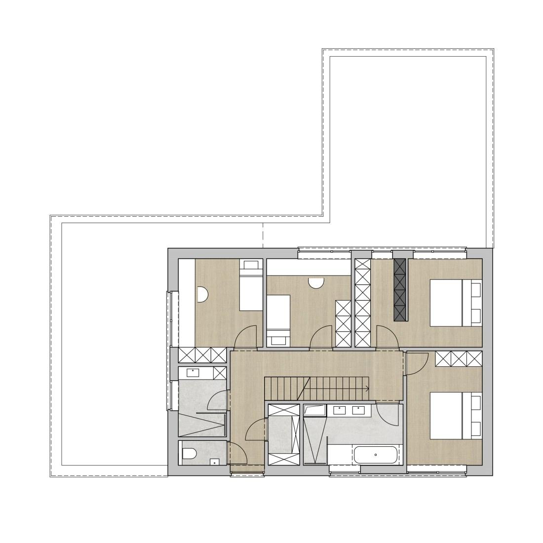 opgewerkt grondplan verdieping