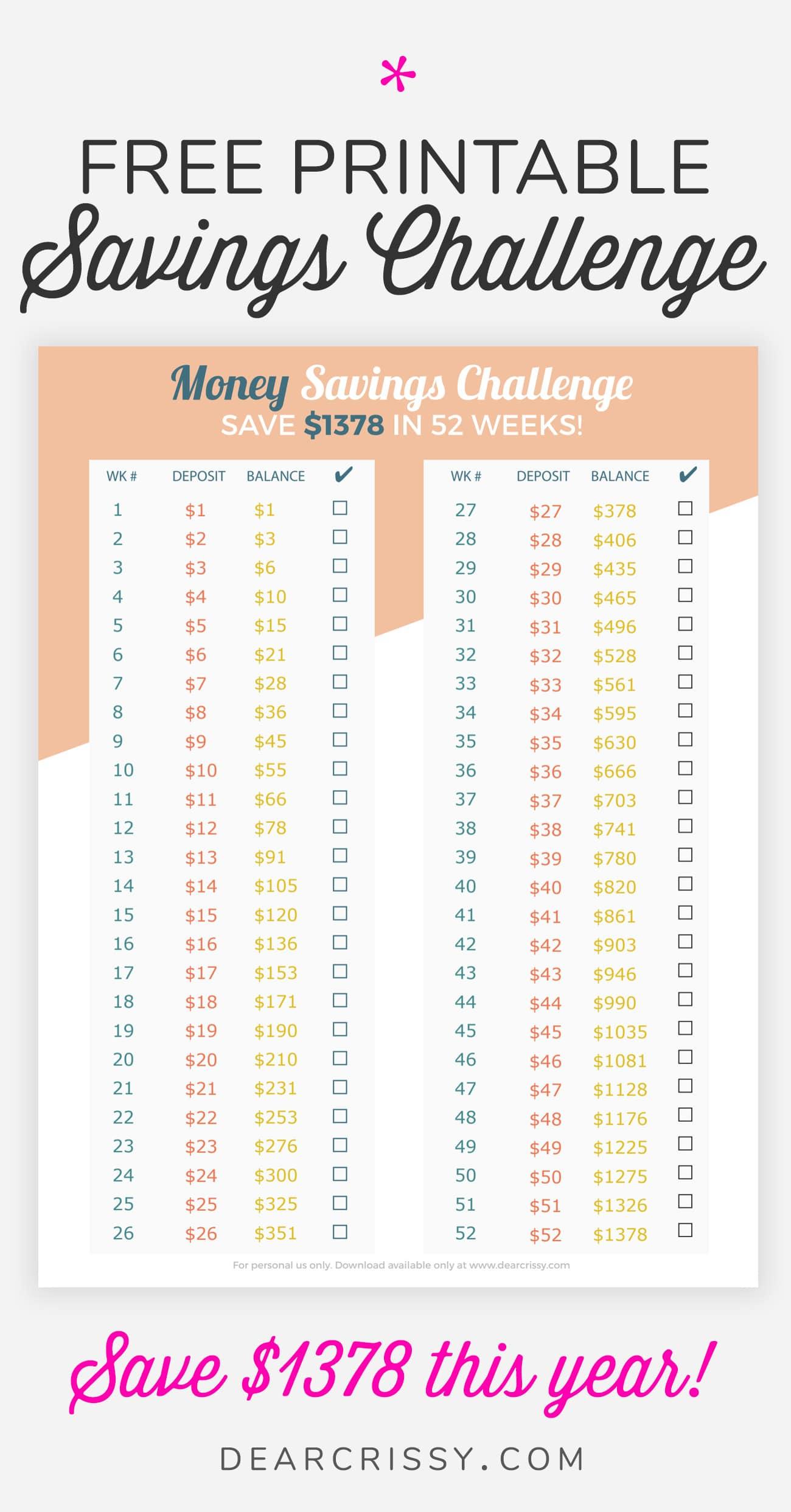 Easy 52 Weeks Money Savings Challenge