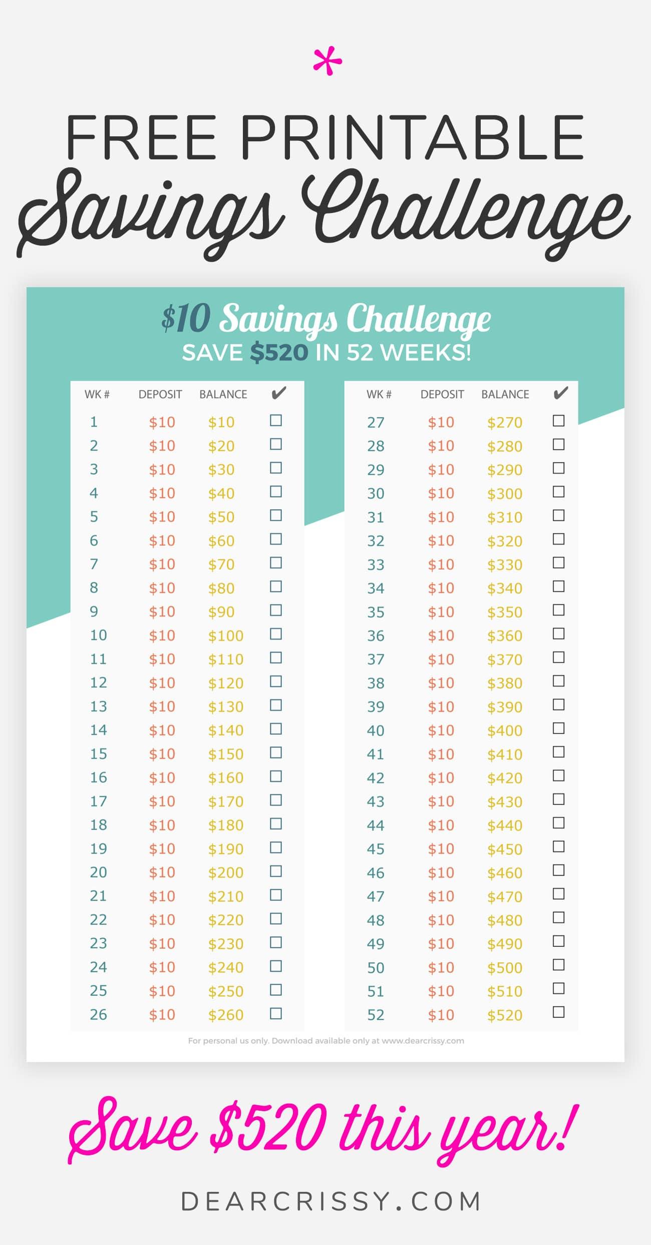 Money Savings Challenge Printable