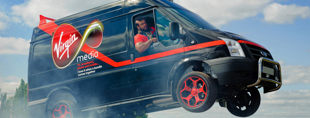 Virgin Media flying van