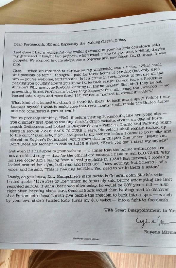 portsmouth eugene mirman letter ad