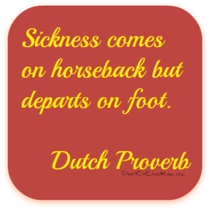 Sickness comes on horseback but departs on foot Dutch Proverb. Broken bones too. DearKidLoveMom.com